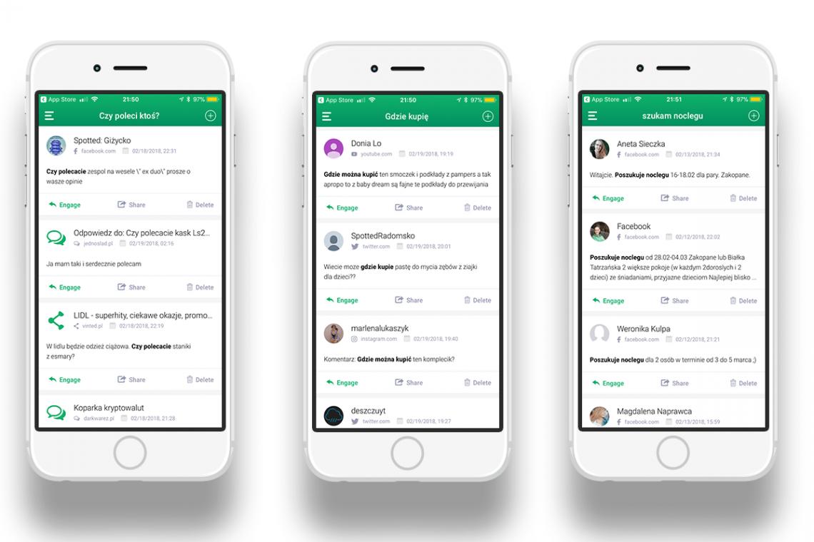 Grafika przedstawiająca aplikację mobilną Brand24 z wykorzystaniem social listeningu.