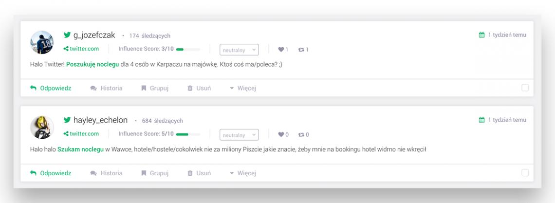 """Grafika przedstawiające przykłady wzmianek z projektu monitorującego """"Szukam noclegu"""""""