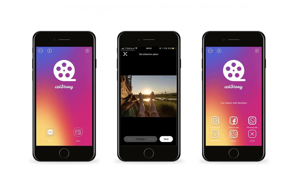 Grafika przedstawiająca aplikację CutStory. Narzędzia do Instagrama na telefon.