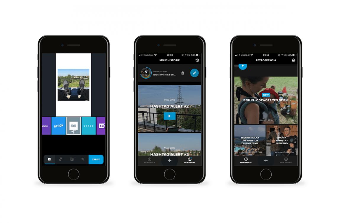 Grafika przedstawiająca aplikację Quik - narzędzia do Instagrama na telefon.