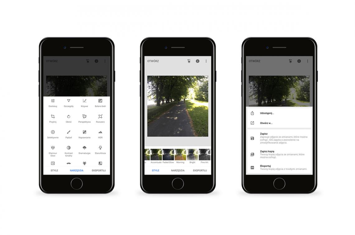 Grafika przedstawiająca aplikację Snapseed. Narzędzia do Instagrama na telefon.
