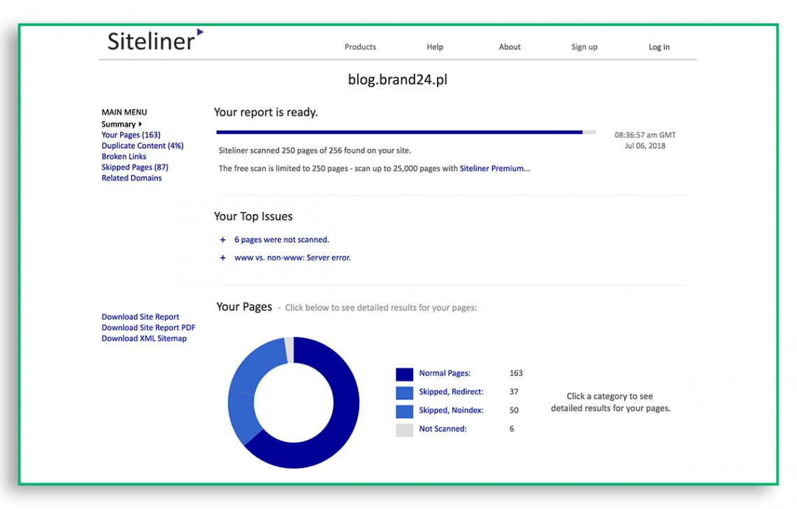 Analiza konkurencji - narzędzie Siteliner