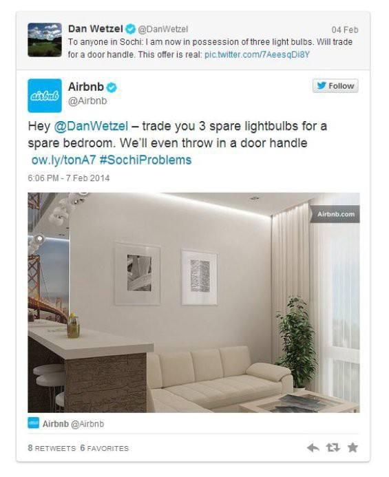 Grafika przedstawiająca reakcje Airbnb na wzmiankę znalezioną w sieci.