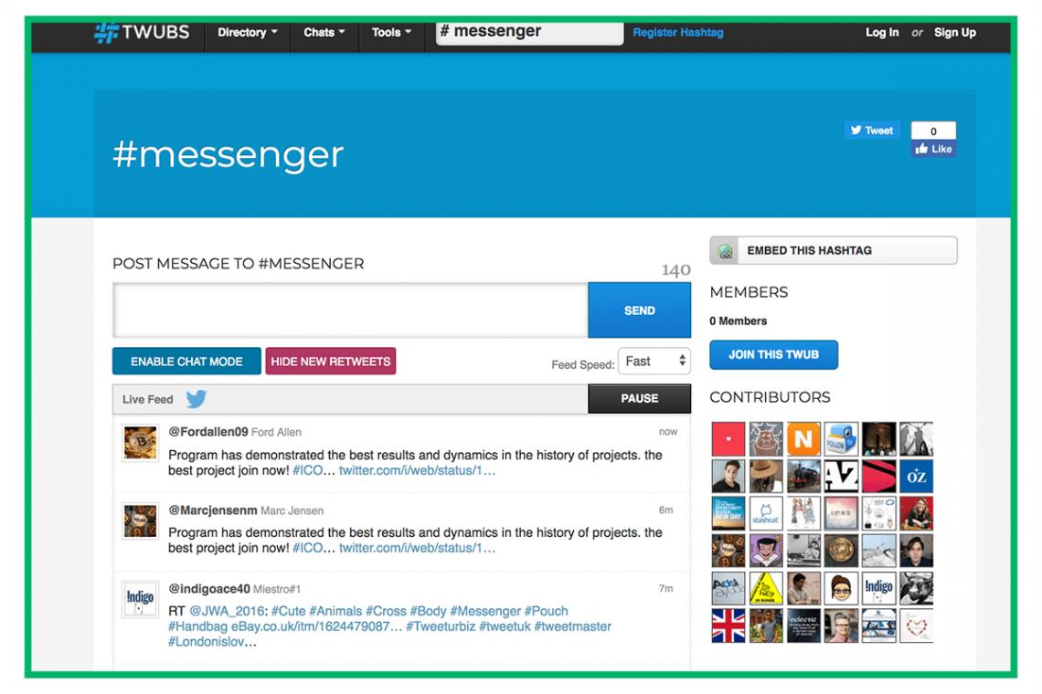 Grafika przedstawiająca dashboard Twubs, narzędzia do szukania popularnych hashtagów.