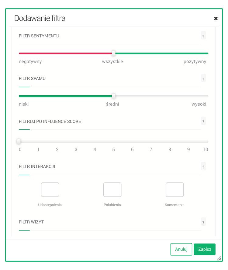 Google Alerts vs. Brand24 - kreator filtra w powiadomieniach w Brand24.
