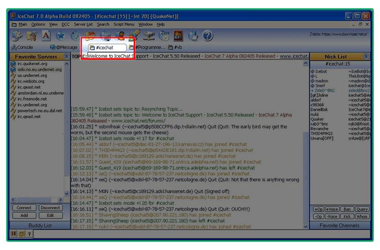 Grafika przedstawiająca wykorzystanie hashtagu w komunikatorze IRC.