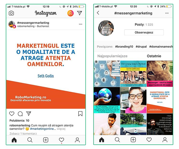 Grafika przedstawiająca możliwośćśledzenia wybranych hashtagów na Instagramie.