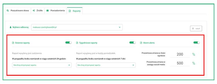 Ustawienia automatycznych raportów w projekcie monitorującym markę w sieci.