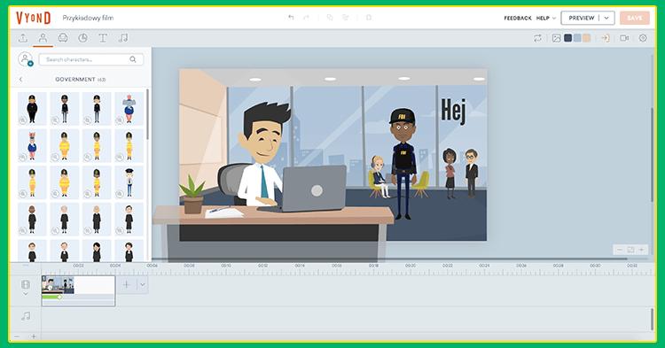 Grafika przedstawiająca program do tworzenia wideo online.