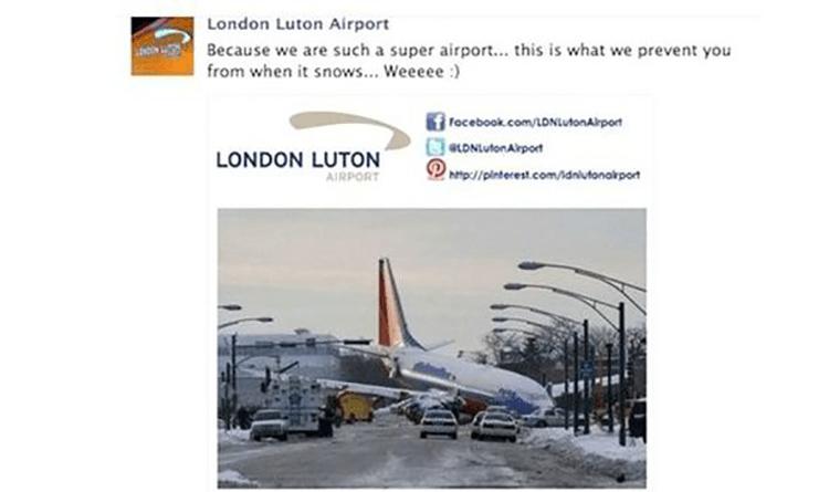 Grafika przedstawiająca post marki London-Luton.