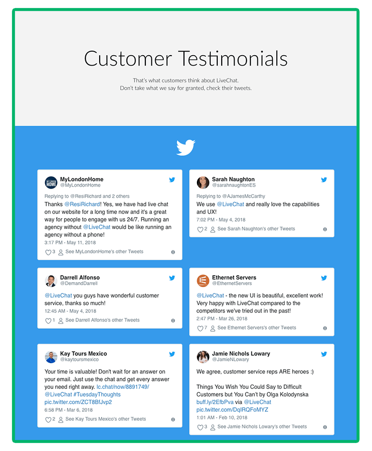 Grafika przedstawiająca rekomendacje użytkowników z sieci na stronie LiveChat.