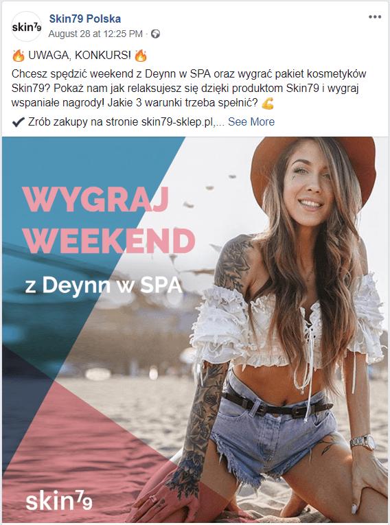 Grafika przedstawiająca post na stronie Skin79 Polska z Deynn