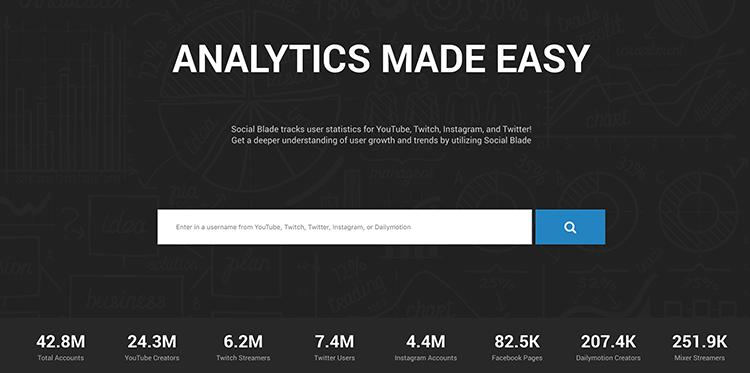 Narzędzia do analizy social media - SocialBlade
