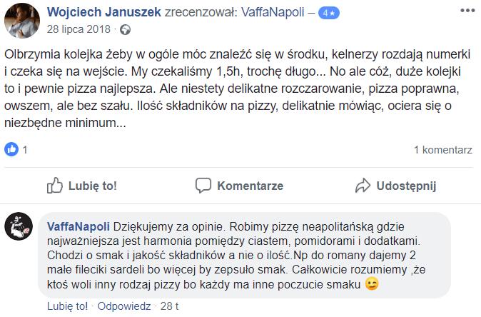 Opinie klientów na temat restauracji VaffaNapoli