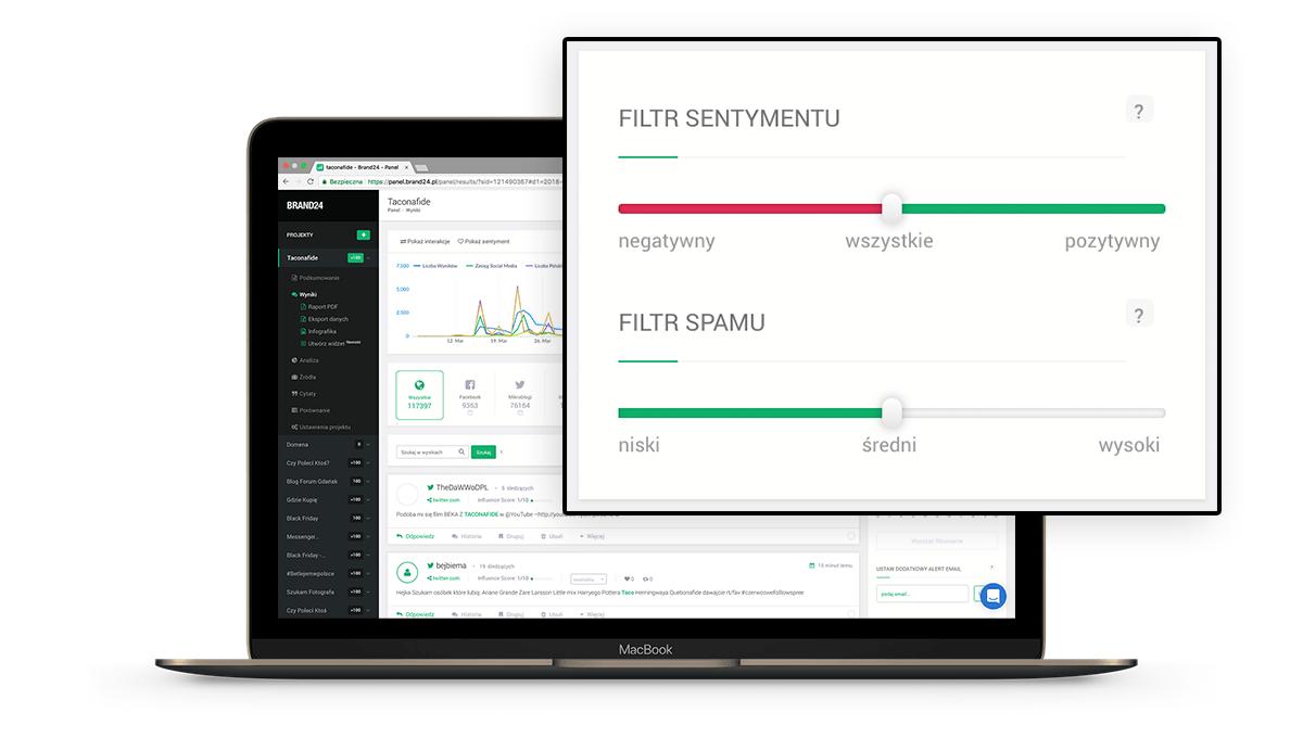 Monitoring opinii klientów za pomocą Brand24 - filtracja wyników