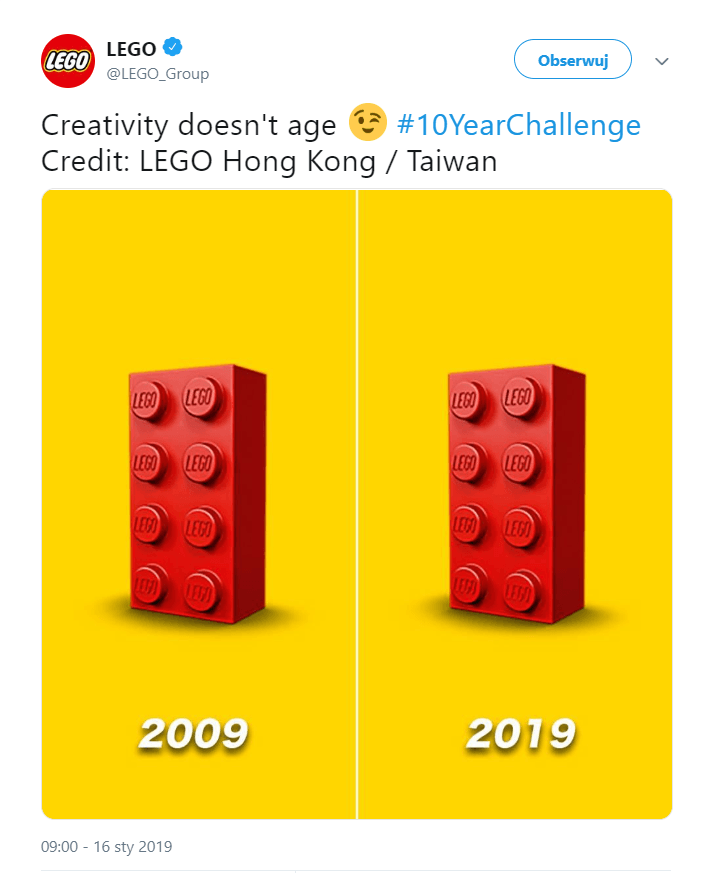 Odpowiedź marki LEGO na #10Years Challenge