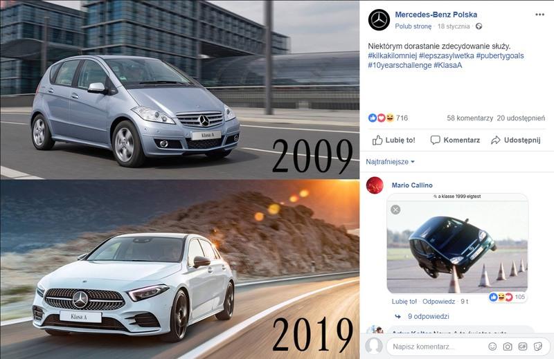 Odpowiedź marki Mercedes Benz na #10YearsChallenge