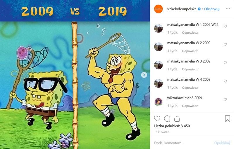 Odpowiedź marki Nickelodeon na #10YearsChallenge