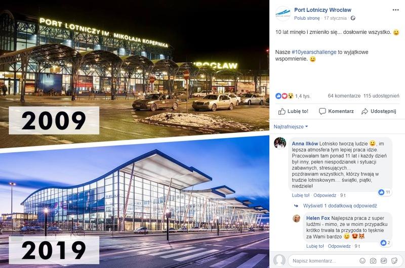 Odpowiedź Portu Lotniczego Wrocław na #10YearsChallenge