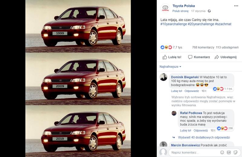 Odpowiedź marki Toyota na #10YearsChallenge