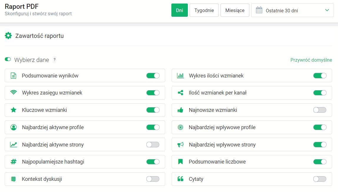 Nowe Raporty PDF w Brand24 - wybór modułów