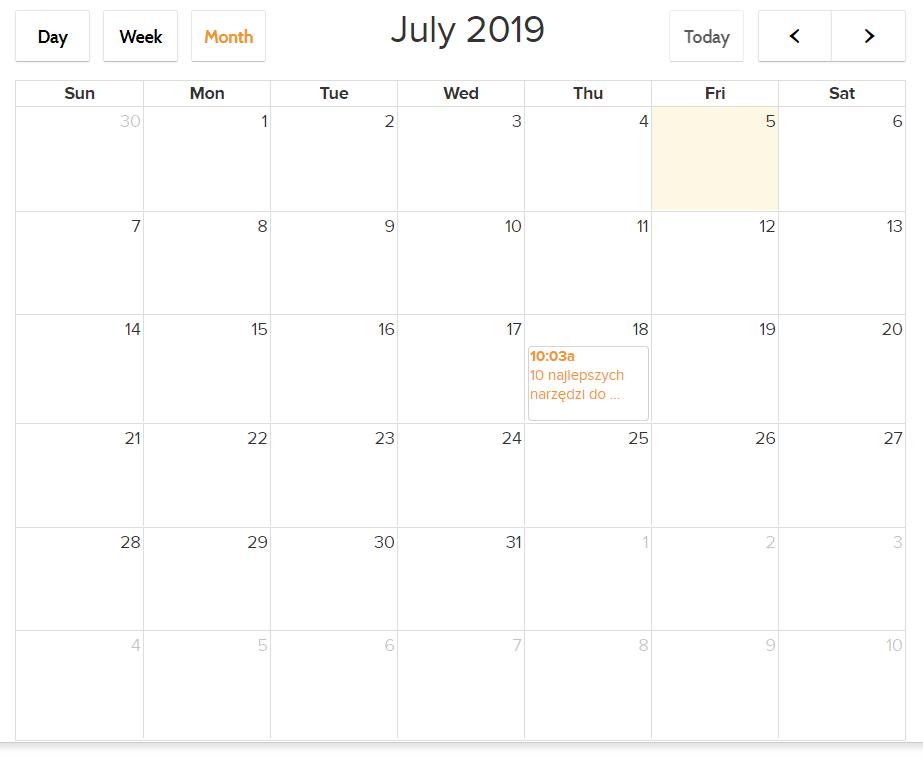 Promocja firmy w Internecie - grafika przedstawiająca kalendarz zaplanowanych postów w Social Champ